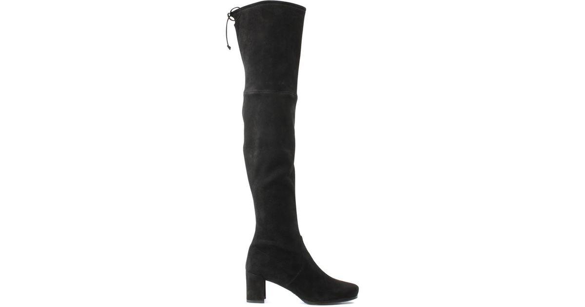 d0c0fa4c643 Lyst - Stuart Weitzman Hinterland Ii Black Suede Block Heel Over The Knee  Boot in Black