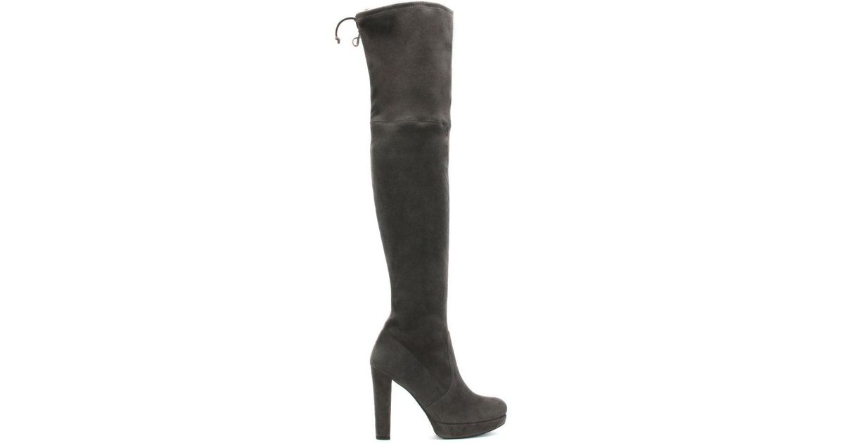 5f67a356fc6 Lyst - Stuart Weitzman Plathighland Grey Suede Over The Knee Boot in Gray