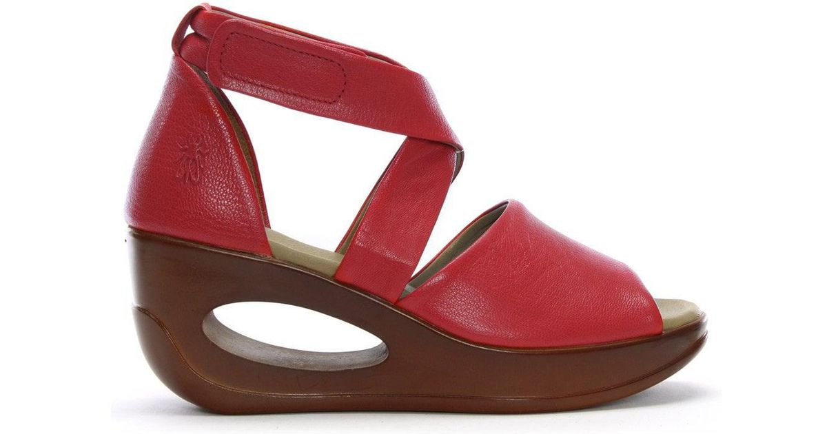 e500eabc3ce5 Fly London Hink Red Leather Strappy Wedge Sandals in Red - Lyst