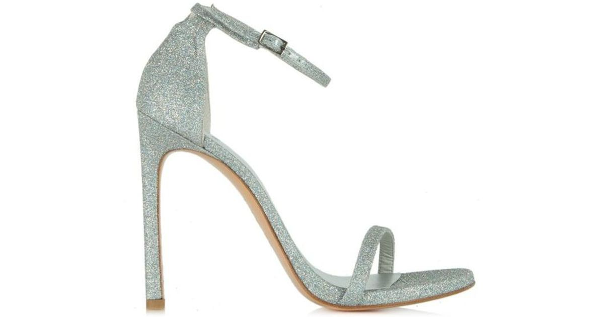 c4492e16bbcb Lyst - Stuart Weitzman Nudist Silver Glitter Heeled Sandal in Metallic