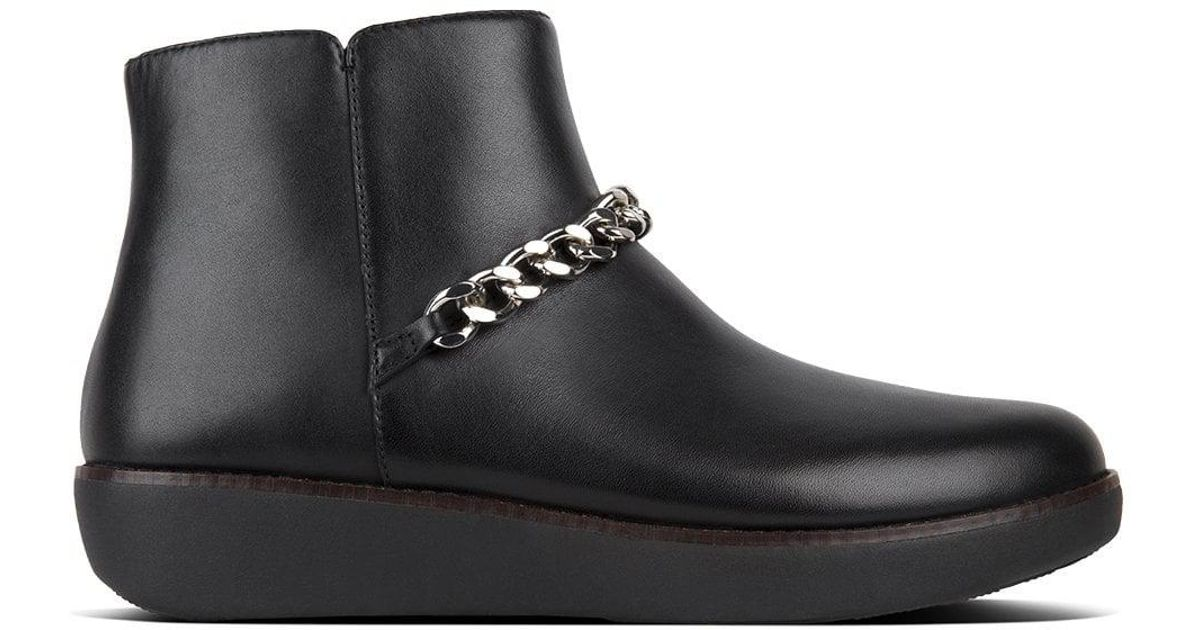 a6e9505201 Fitflop Pia Black Leather Chain Ankle Boots in Black - Save 49% - Lyst