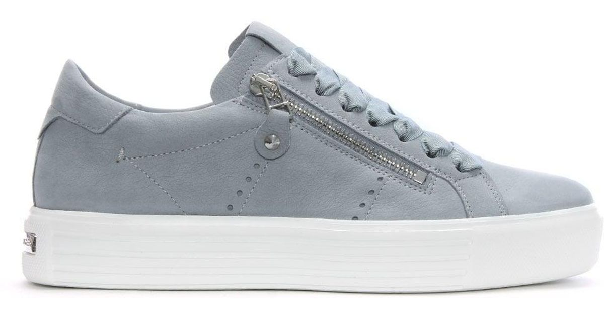 44a5bcb76e79 Kennel   Schmenger Ribbon Lace Up Silver Grey Leather Trainers in Gray -  Lyst