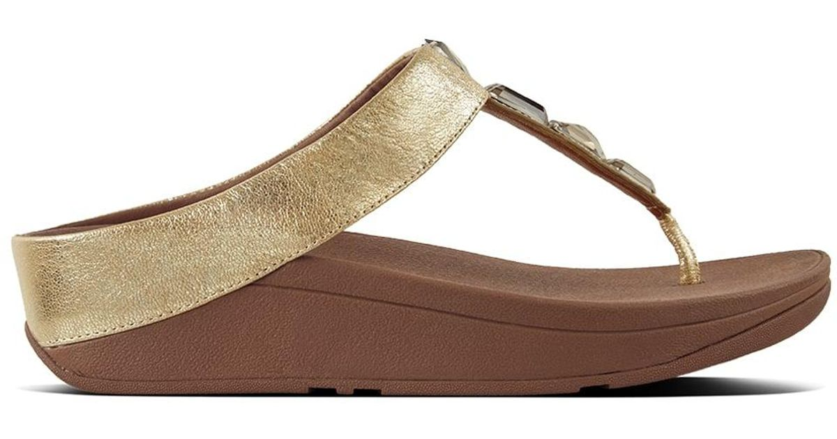 ccc1d7a5270c7 Fitflop Roka Gold Leather Toe Post Sandals in Metallic - Lyst
