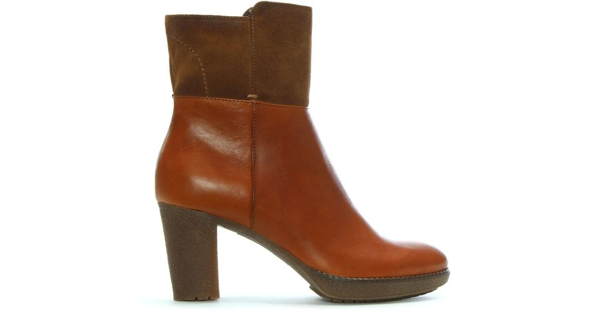 8573b7cb0ef5 Shoon Tan Leather   Suede Contrast Ankle Boots in Brown - Lyst