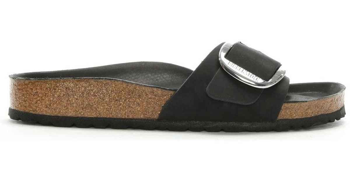 0986ff953a24 Lyst - Birkenstock Birkenstock Madrid Big Buckle Black Leather Mule in Black