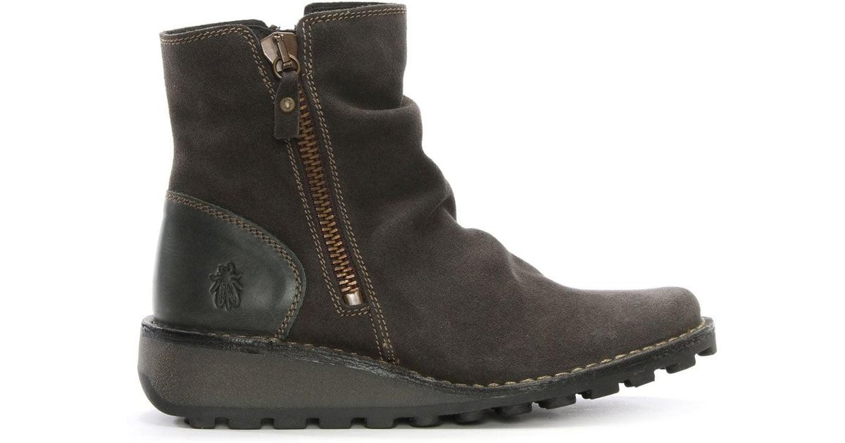 fly mong diesel suede low wedge ankle boots in grey