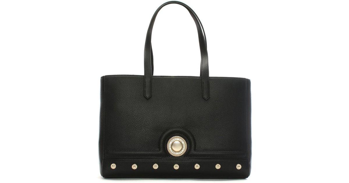 Lyst - Versace Jeans Annie Black Studded Tote Bag in Black 74d0e01bafbc1