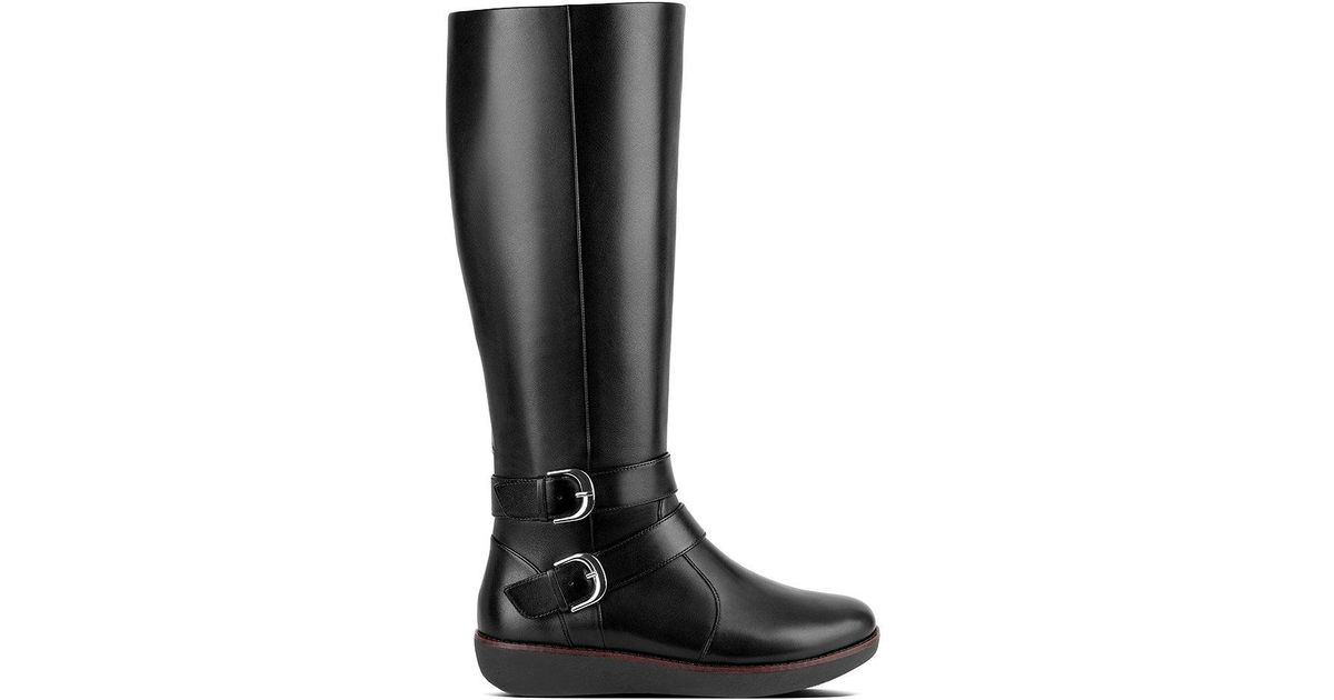 5cdcd2b9678 Fitflop Black Leather  noemi  Knee High Boots in Black - Save 50% - Lyst