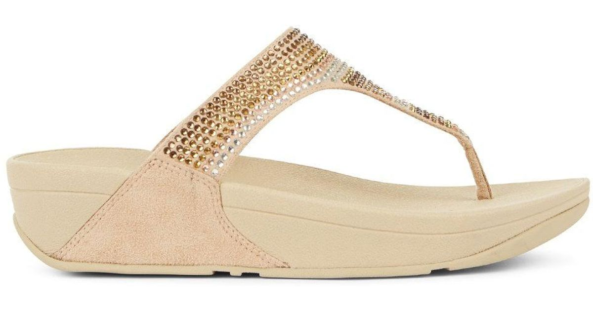 0e4ca6388 Fitflop Strobe Embellished Gold Toe Post Flip Flops in Metallic - Lyst