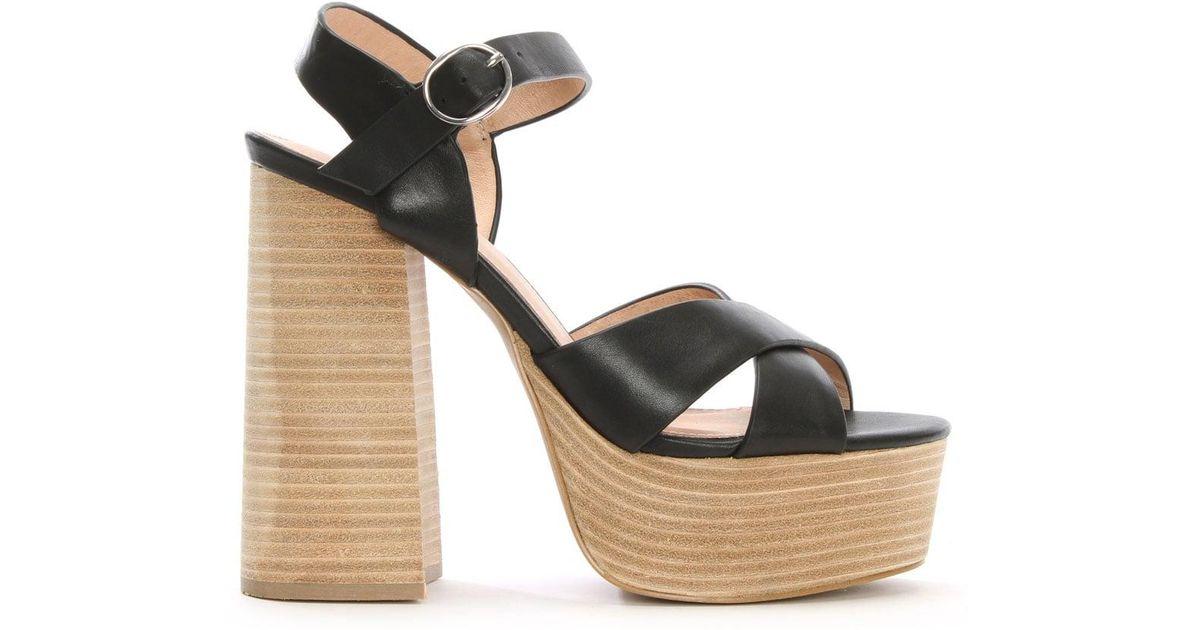 76b0d6a1f0b Shellys London Lauren Black Leather Two Part Platform Sandals in Black -  Lyst