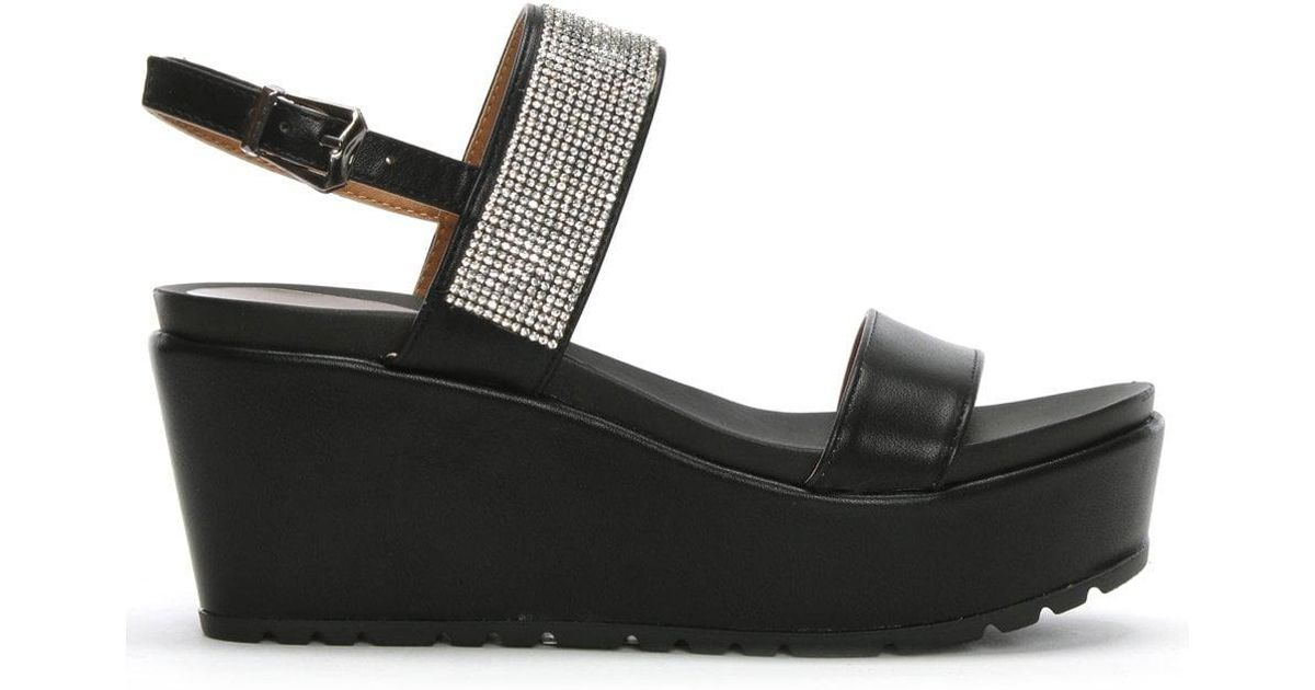 24bfddf88b0502 Lyst - Moda In Pelle Panelo Black Jewelled Wedge Sandals in Black