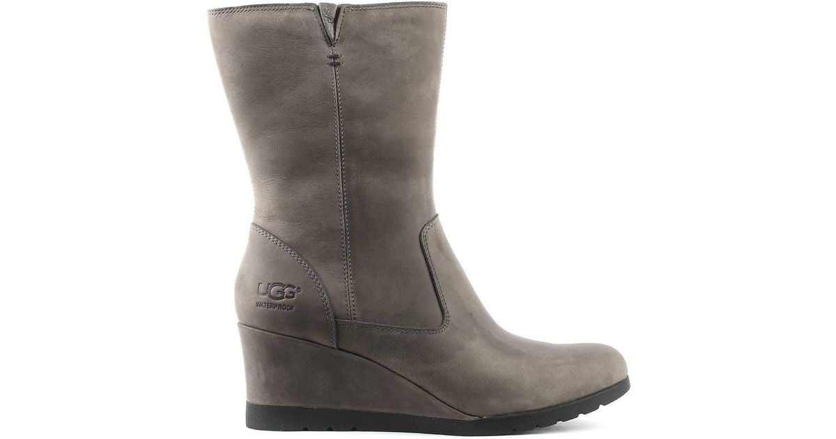 5907f5656ca Ugg - Gray Joely Charcoal Leather Low Wedge Ankle Boot - Lyst