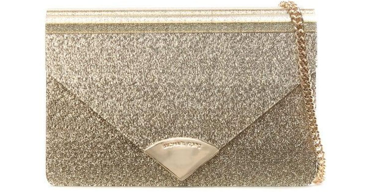 113ee38f134 Michael Kors Barbara Gold Metallic Envelope Clutch Bag in Metallic - Lyst