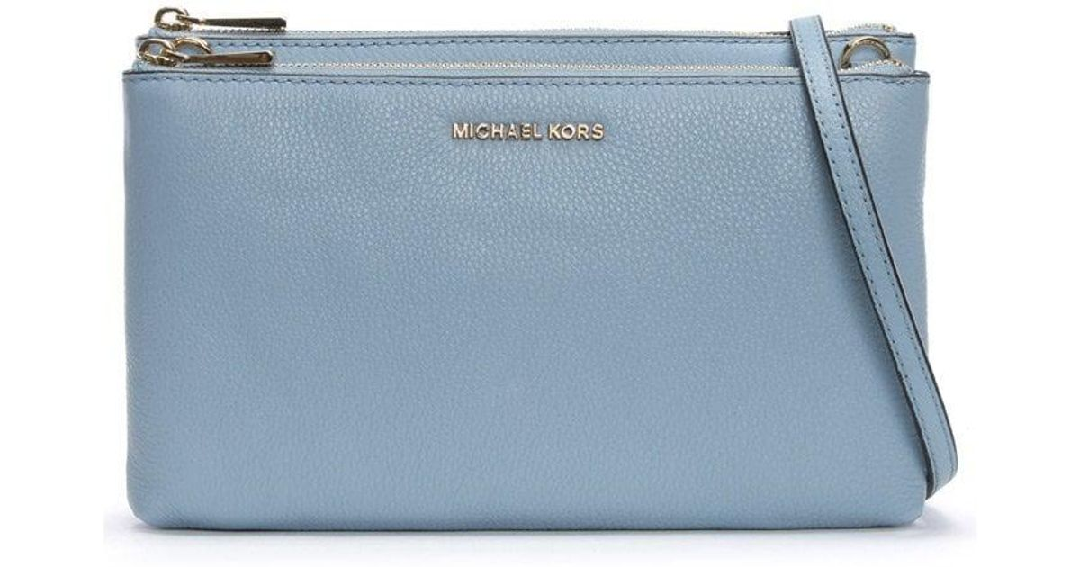 00b55d3f3b Michael Kors Gusset Pale Blue Pebbled Leather Cross-body Bag in Blue - Lyst