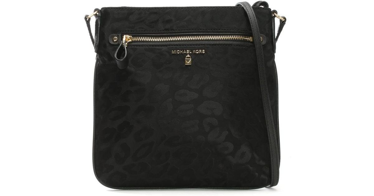 4983730493c0 Lyst - Michael Kors Kelsey Black Nylon Leopard Print Cross-Body Bag in Black