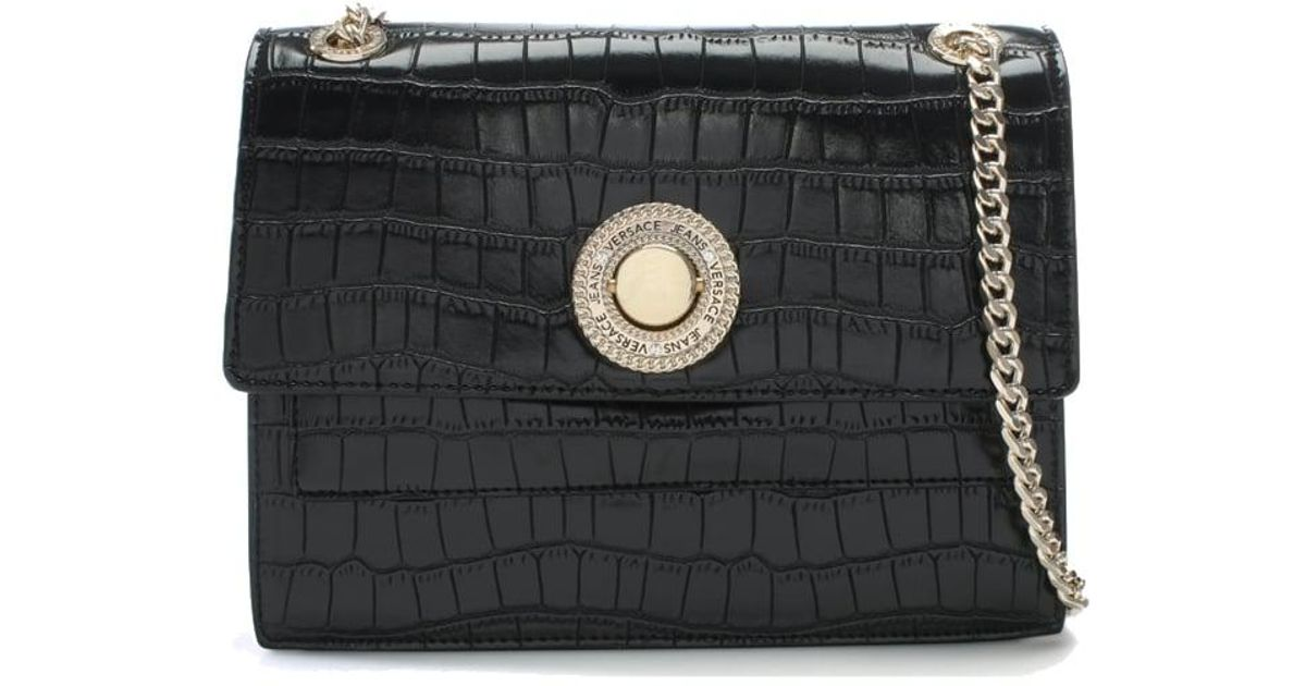 81848ebc139b Lyst - Versace Jeans Plaque Black Moc Croc Shoulder Bag in Black