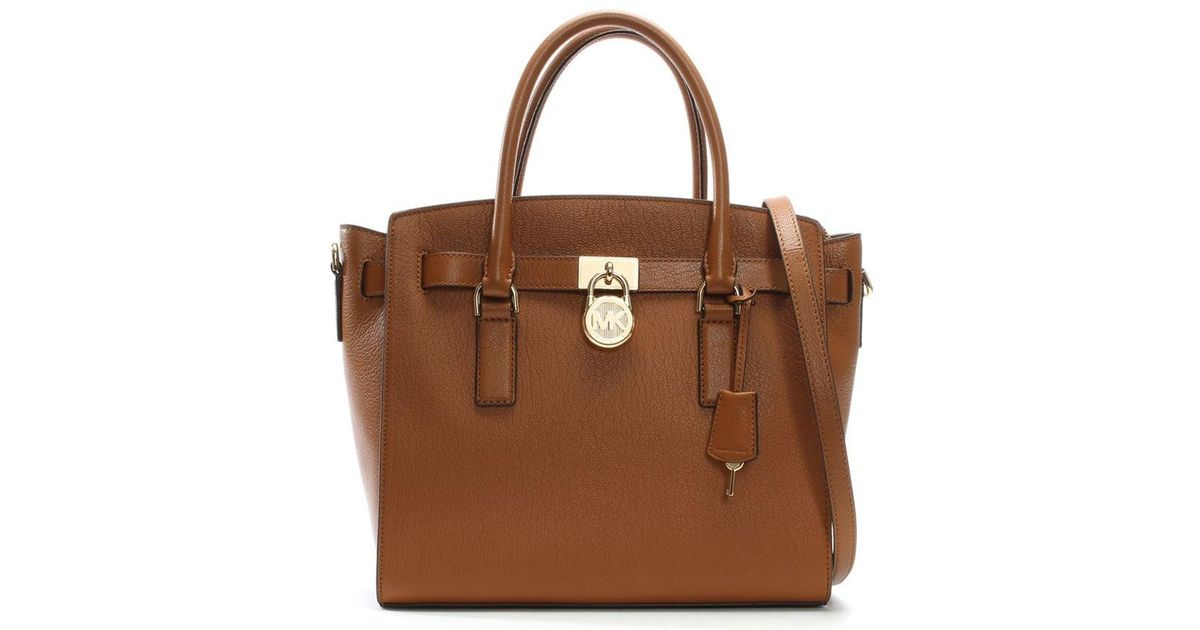 cdce3fe80201 Lyst - Michael Kors Hamilton Acorn Leather Satchel Bag in Brown