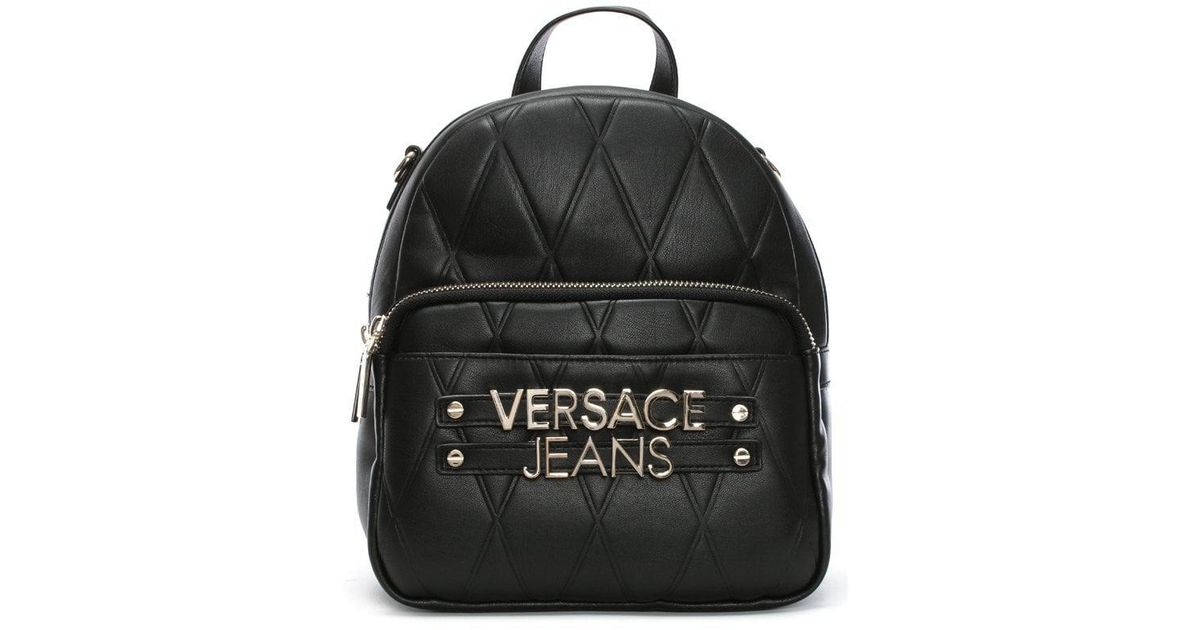 e2184cb0fa Lyst - Versace Jeans Quilted Logo Backpack With Chain Detail in Black