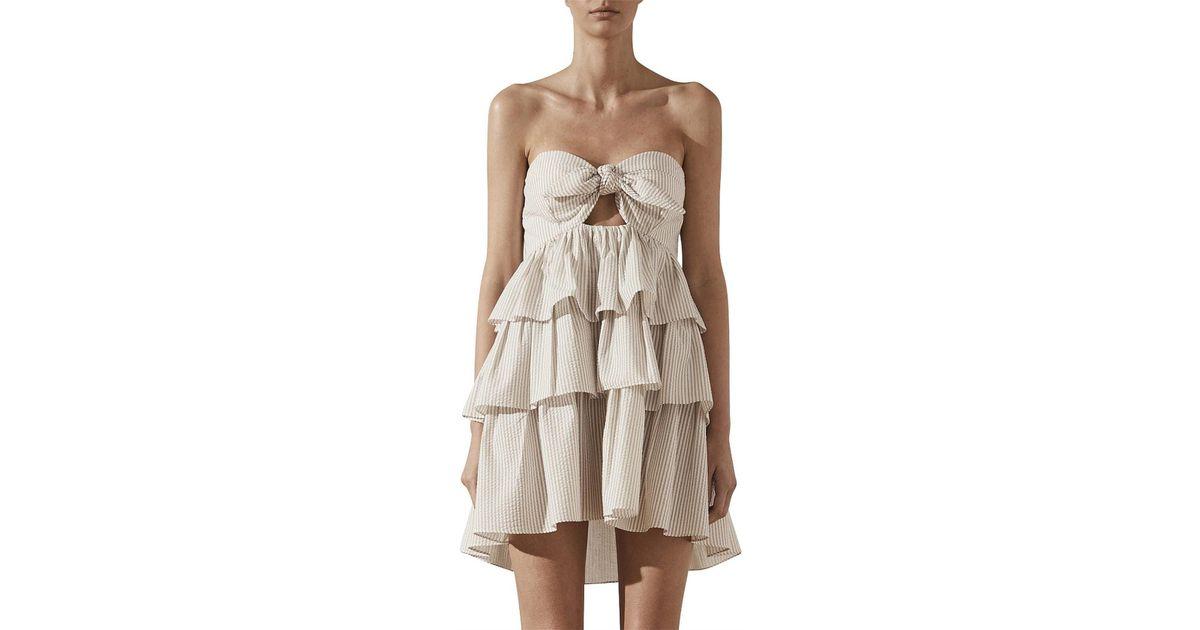 873e26b994b7 Shona Joy Sabbia Tie Front Tiered Mini Dress - Lyst