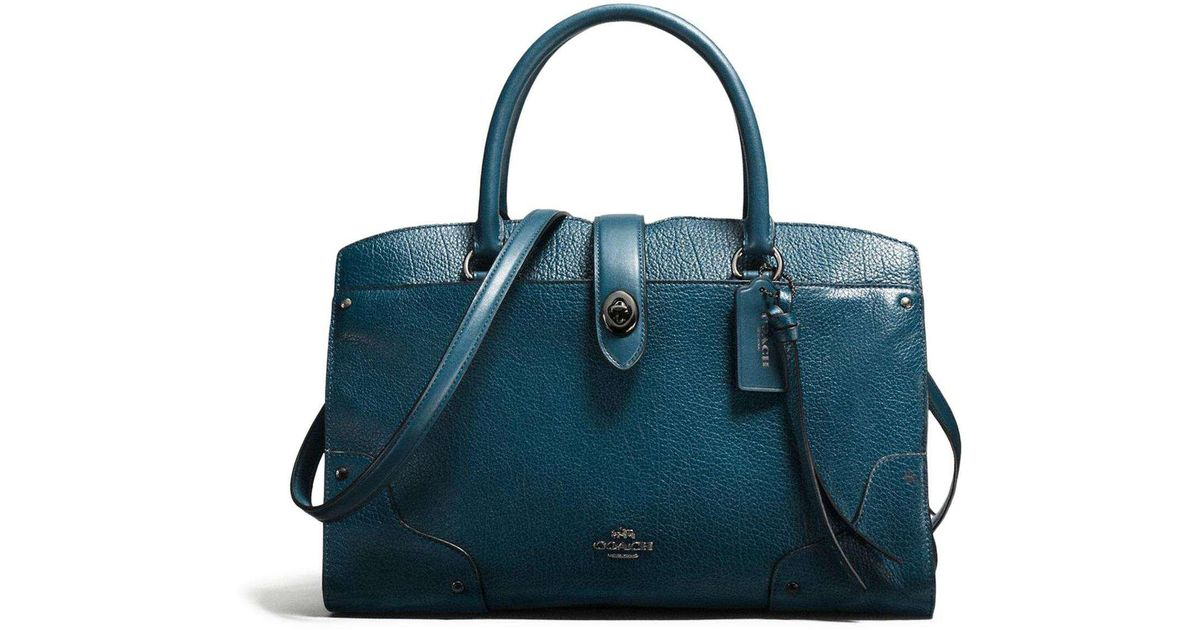 e5bbd68f20d40 COACH Mercer Satchel 30 In Mixed Leather With Whiplash Detail in Blue - Lyst