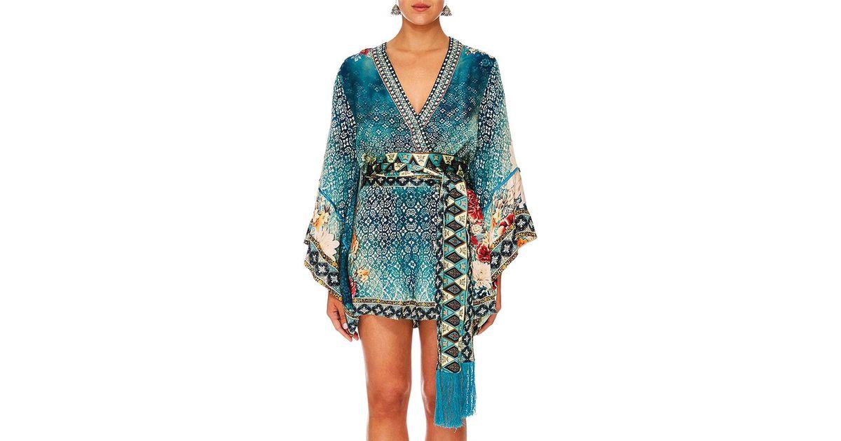 6b035ba90e7 Camilla Her Heirloom Kimono Sleeve Playsuit W  obi Belt in Blue - Lyst