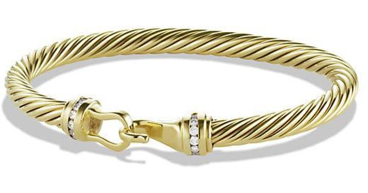 David Yurman Cable Clic Buckle Bracelet With Diamonds In 18k Gold 5mm Metallic Lyst