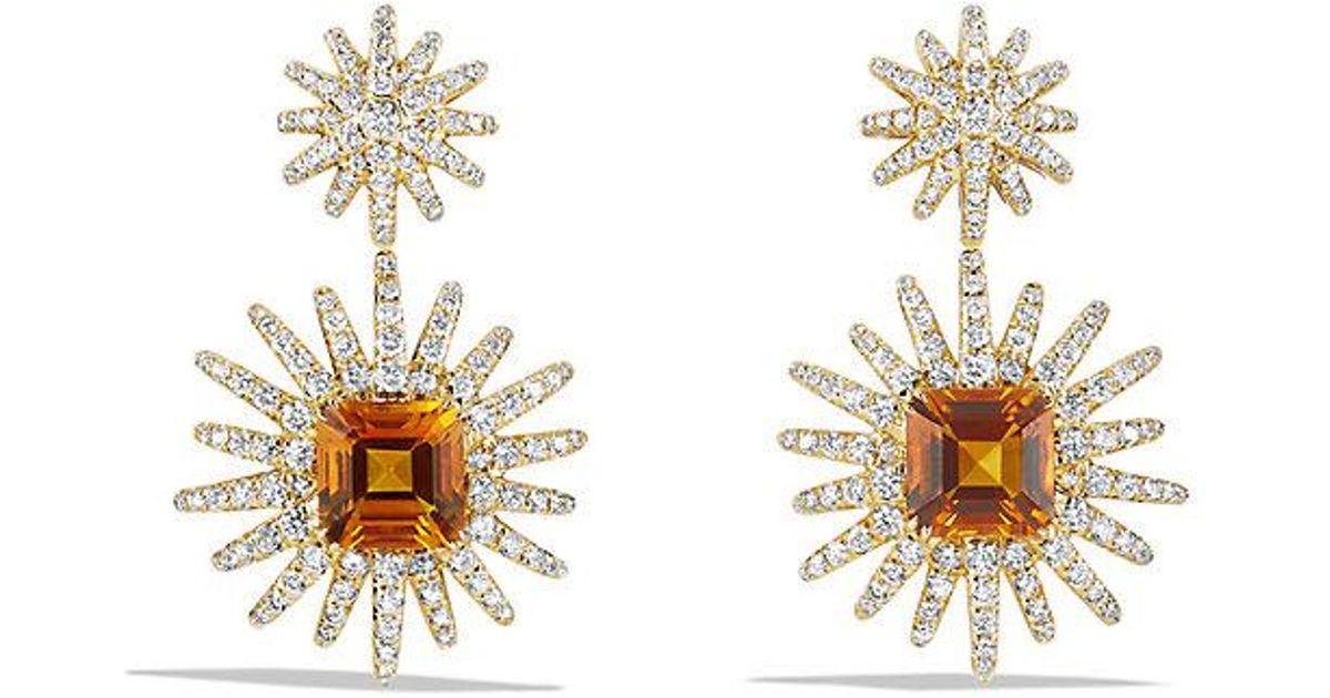 Lyst David Yurman Starburst Drop Earrings With Madeira Citrine And Diamonds In 18k Gold Metallic
