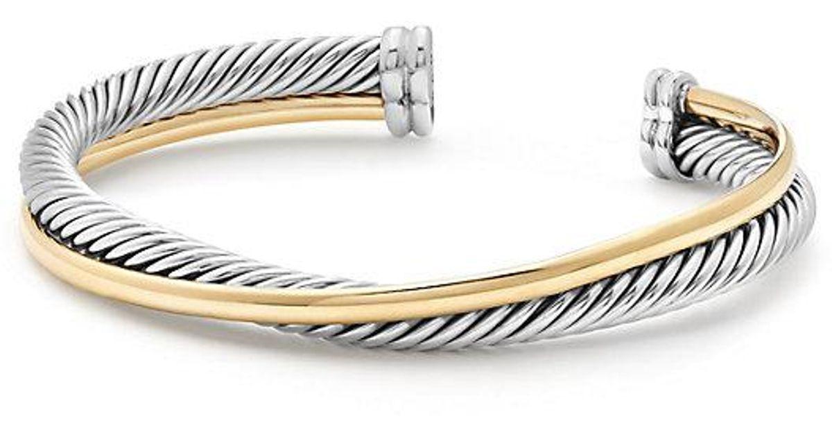 18kt yellow gold X silver cuff bracelet - Metallic David Yurman AAmw9u
