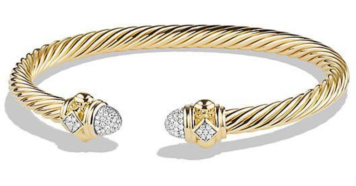 Lyst David Yurman Renaissance Bracelet With Diamonds In 18k Gold 5mm Metallic