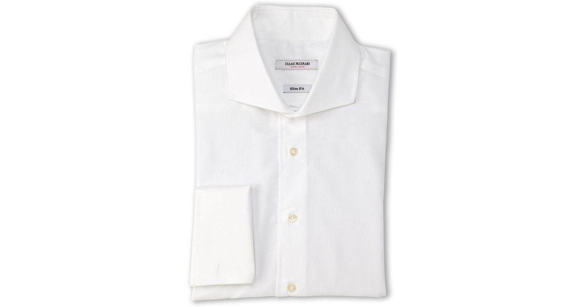 Isaac mizrahi new york white pin dot slim fit french cuff White french cuff shirt slim fit