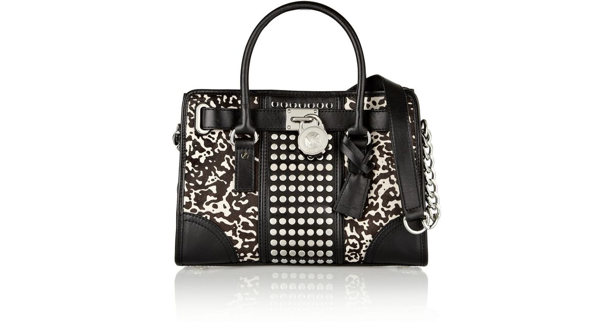 f59562e53dd8 MICHAEL Michael Kors Hamilton Studded Leather and Printed Calf Hair Tote in  Black - Lyst