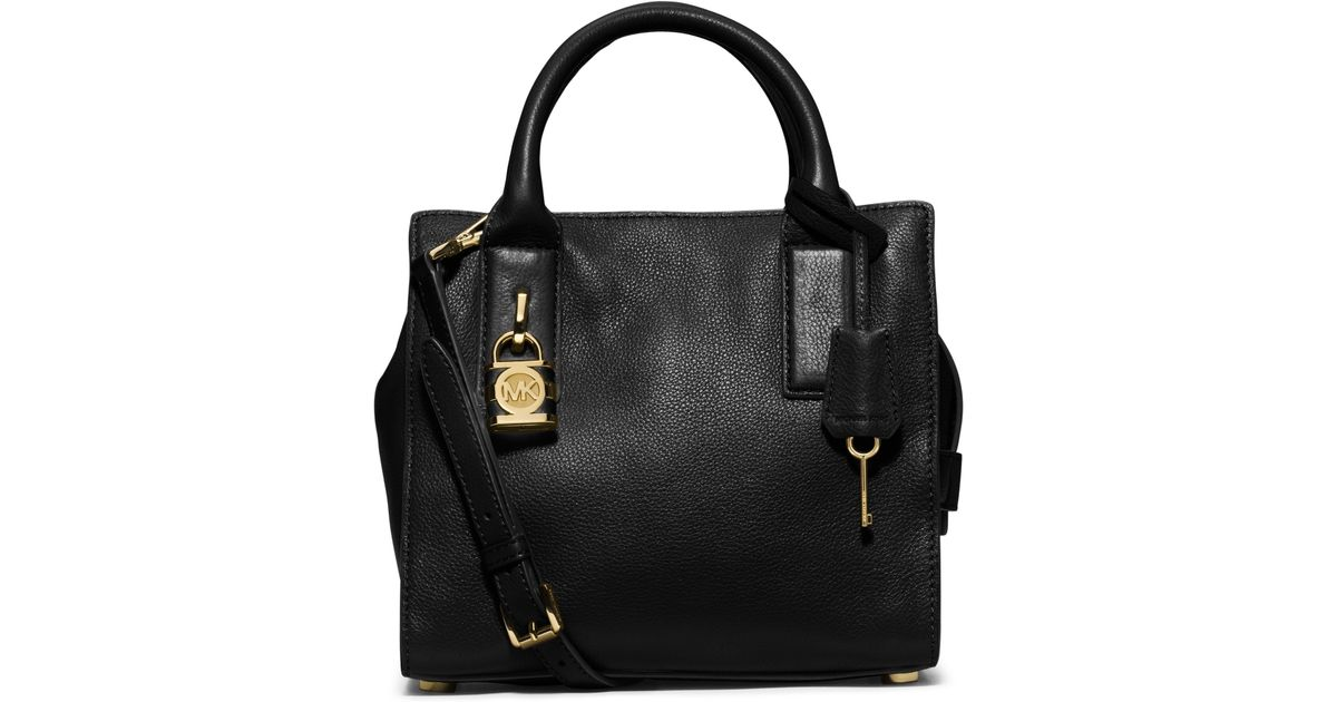Michael kors black leather padlock tote bag