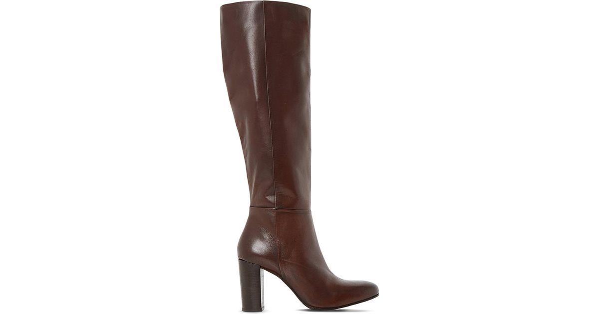 dune siena knee high leather boots in brown brown leather