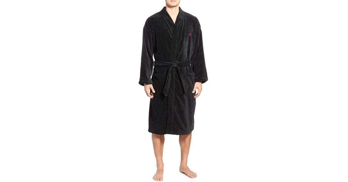 polo ralph lauren cotton fleece robe in black for men lyst. Black Bedroom Furniture Sets. Home Design Ideas