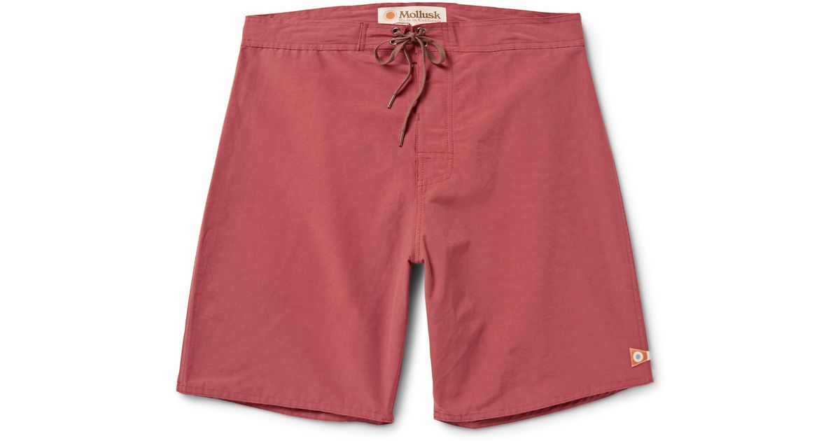 9a8ad87df2 Lyst - Mollusk Pennant Cotton-Blend Boardshorts in Red for Men