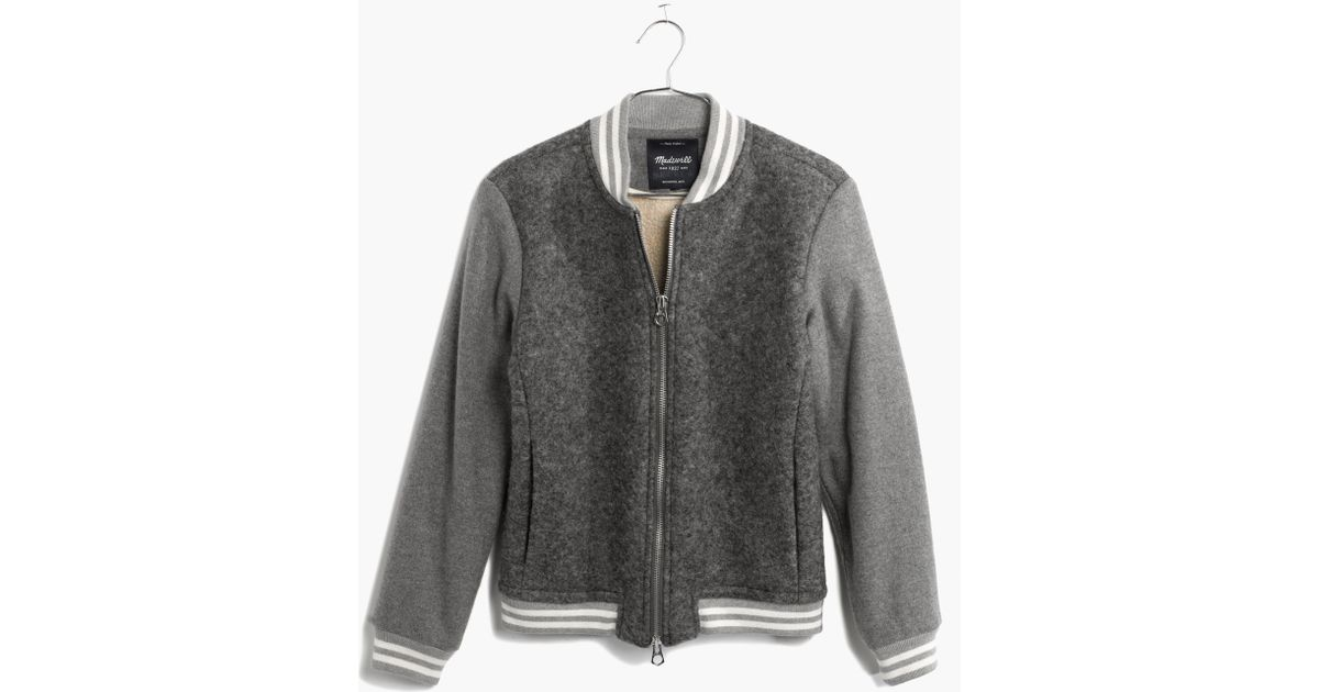 Madewell Dugout Varsity Bomber Jacket In Gray Lyst