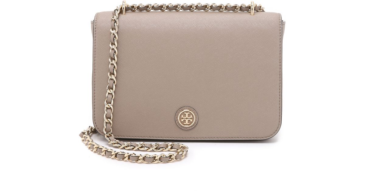 dad0519fb ... coupon for lyst tory burch robinson adjustable shoulder bag french gray  in gray bf98e 112dd