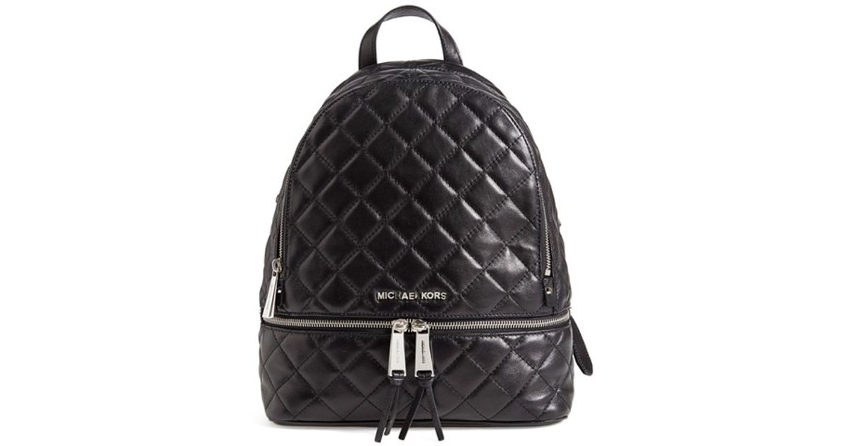 fbb725ba6e5a MICHAEL Michael Kors 'medium Rhea Zip' Quilted Backpack in Black - Lyst