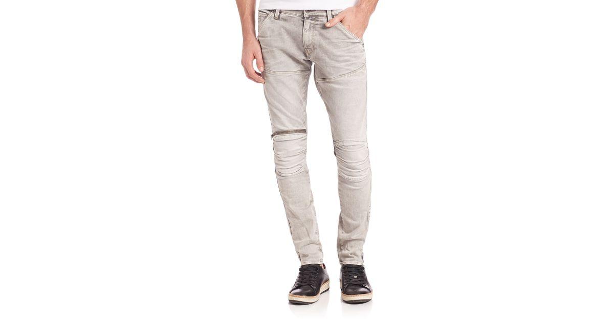 g star raw 3d zip straight leg jeans in white for men. Black Bedroom Furniture Sets. Home Design Ideas