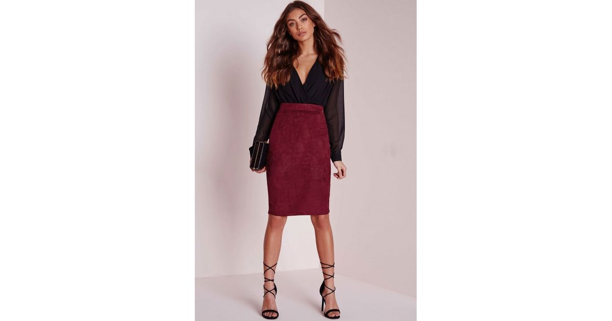 Missguided Petite Faux Suede Midi Skirt Burgundy in Purple | Lyst