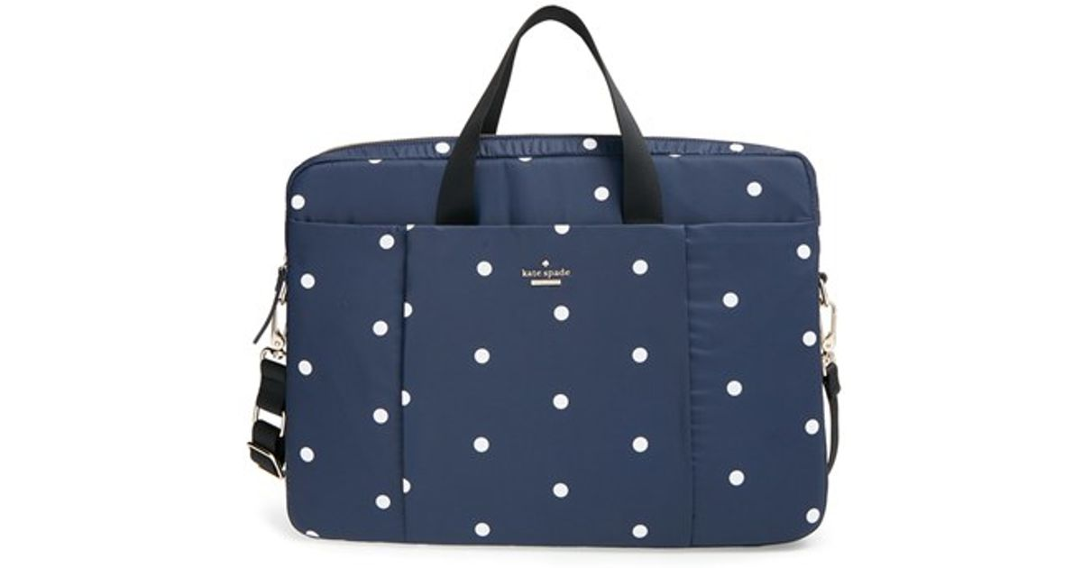 Lyst kate spade new york dot print laptop bag in blue junglespirit Gallery