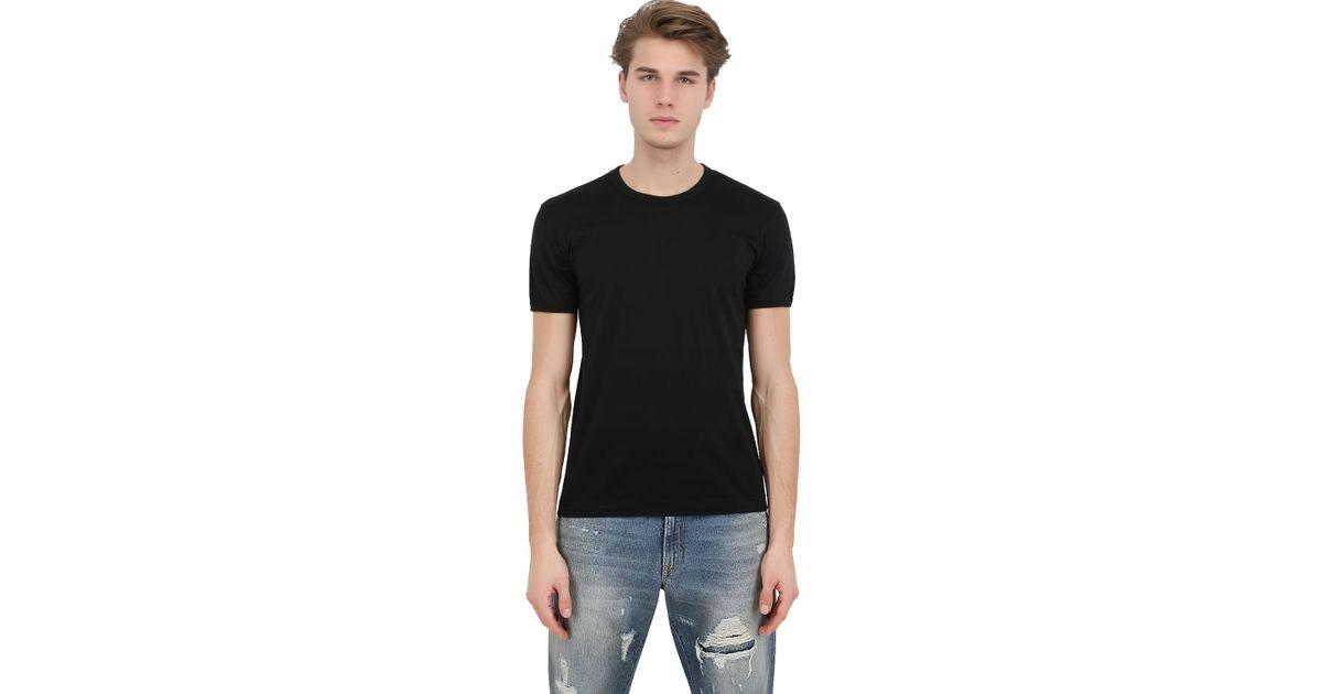 Dolce gabbana cotton jersey t shirt in black for men lyst for Dolce gabbana t shirt women