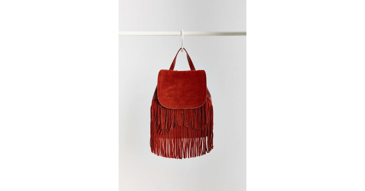 2e7603f1b2 Lyst - Ecote Suede Fringe Backpack in Red