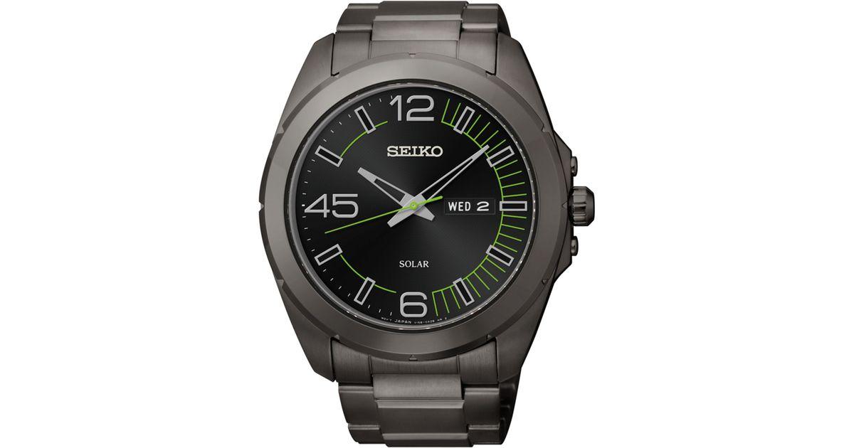 Seiko Men S Millennial Solar Black Ion Finished Stainless Steel Bracelet Watch 45mm Sne275 For Men Lyst