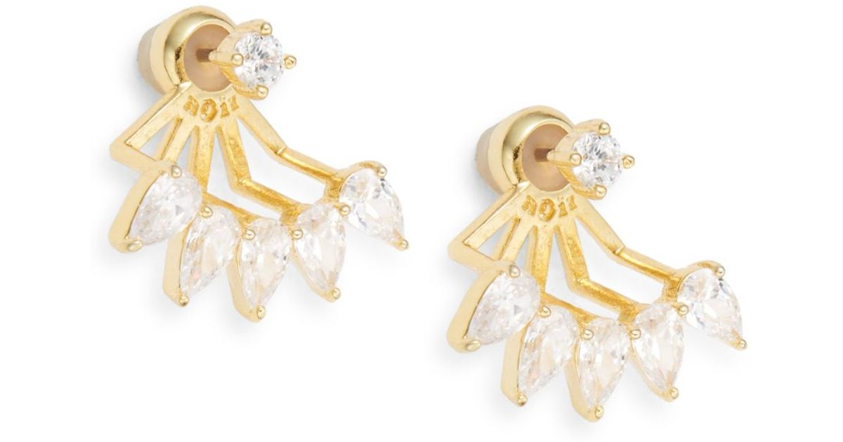 Lyst Noir Jewelry Holiday Royals Adelaide White Stone Front To Back Earrings Goldtone In Metallic