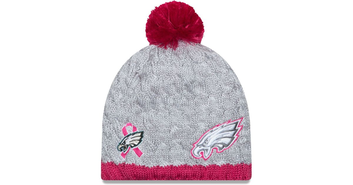 Lyst - KTZ Women s Philadelphia Eagles Breast Cancer Awareness Knit Hat in  Gray e1a70d07d