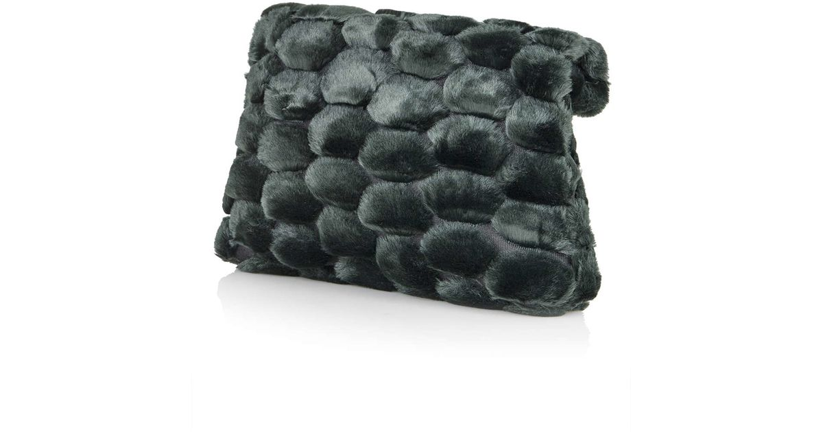 Lyst - TOPSHOP Dotty Faux Fur Clutch Bag in Green 4ff7f7e4d14aa