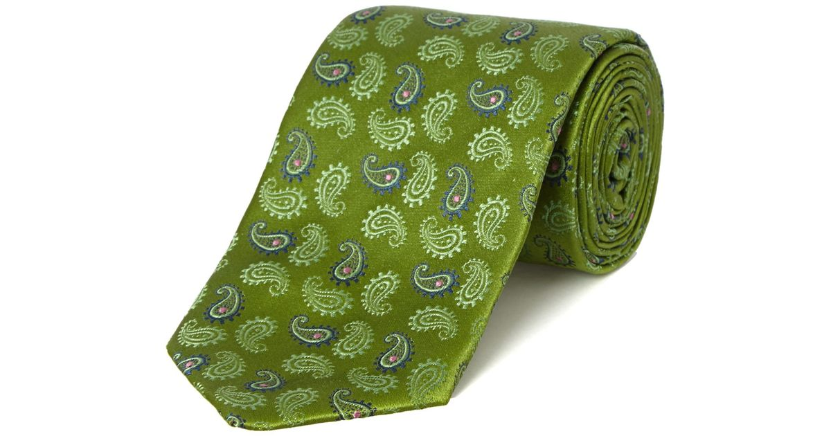 pink morris paisley tie in green for lyst