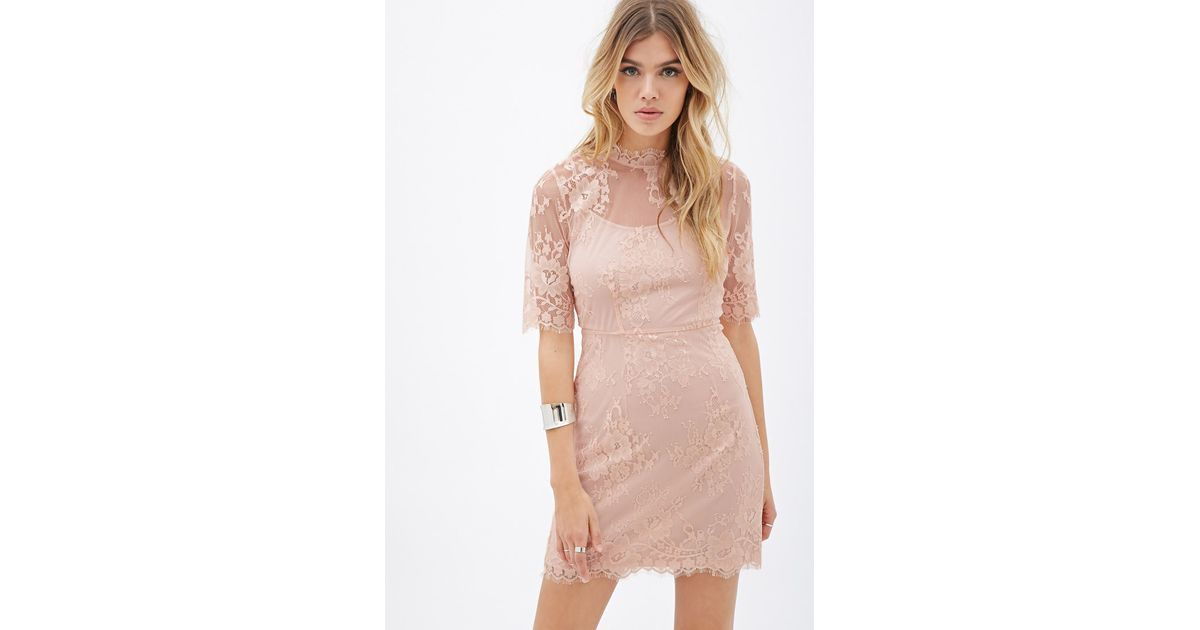 Forever floral embroidered mesh dress in pink peach
