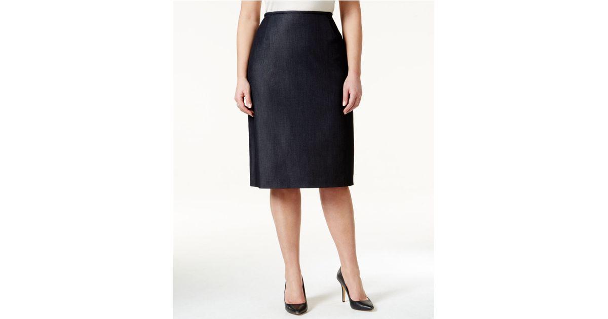 tahari plus size denim skirt in black denim blue save